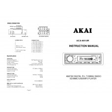 Akai ACA-601UR Car Radio with USB / Card Reader