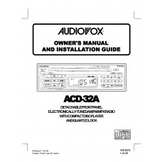 Audiovox ACD-32A FM/AM Compact Disc Player