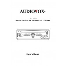Audiovox AVD300T SLOT-IN DVD PLAYER WITH BUILT-IN TV TUNER