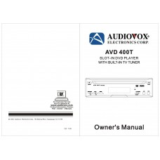 Audiovox AVD 400T SLOT-IN DVD PLAYER WITH BUILT-IN TV TUNER