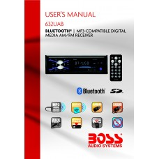 Boss 632UAB Single-DIN MECH-LESS Multimedia Player (no CD/DVD) Detach Panel Bluetooth